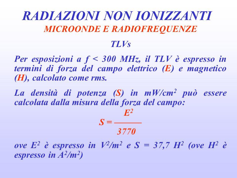 RADIAZIONI NON IONIZZANTI MICROONDE E RADIOFREQUENZE TLVs Per esposizioni a f < 300 MHz, il TLV è espresso in termini di forza del campo elettrico (E) e magnetico (H), calcolato come rms.