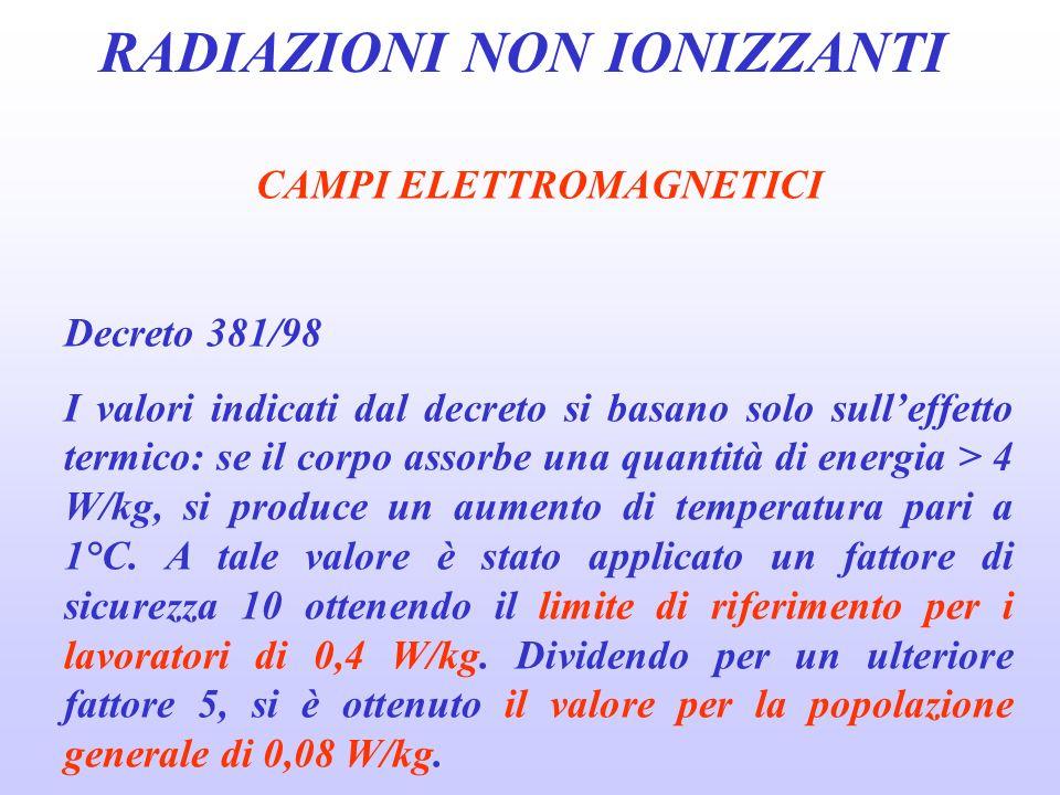 RADIAZIONI NON IONIZZANTI CAMPI ELETTROMAGNETICI Decreto 381/98 I valori indicati dal decreto si basano solo sulleffetto termico: se il corpo assorbe una quantità di energia > 4 W/kg, si produce un aumento di temperatura pari a 1°C.