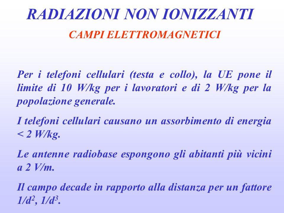 RADIAZIONI NON IONIZZANTI CAMPI ELETTROMAGNETICI Per i telefoni cellulari (testa e collo), la UE pone il limite di 10 W/kg per i lavoratori e di 2 W/kg per la popolazione generale.