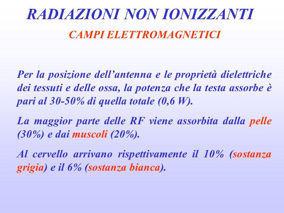 RADIAZIONI NON IONIZZANTI CAMPI ELETTROMAGNETICI Per la posizione dellantenna e le proprietà dielettriche dei tessuti e delle ossa, la potenza che la testa assorbe è pari al 30-50% di quella totale (0,6 W).