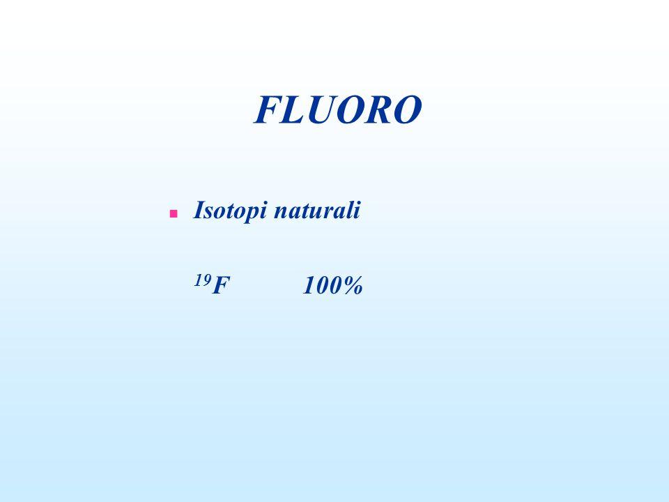 FLUORO n Isotopi naturali 19 F100%