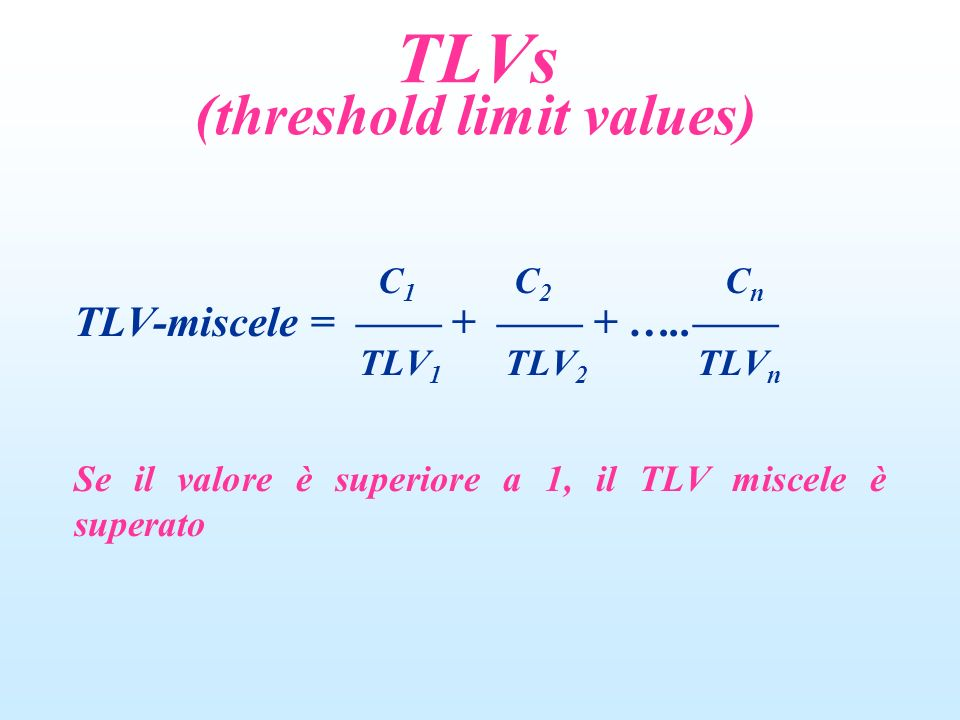 C 1 C 2 C n TLV-miscele = + + ….. TLV 1 TLV 2 TLV n Se il valore è superiore a 1, il TLV miscele è superato TLVs (threshold limit values)