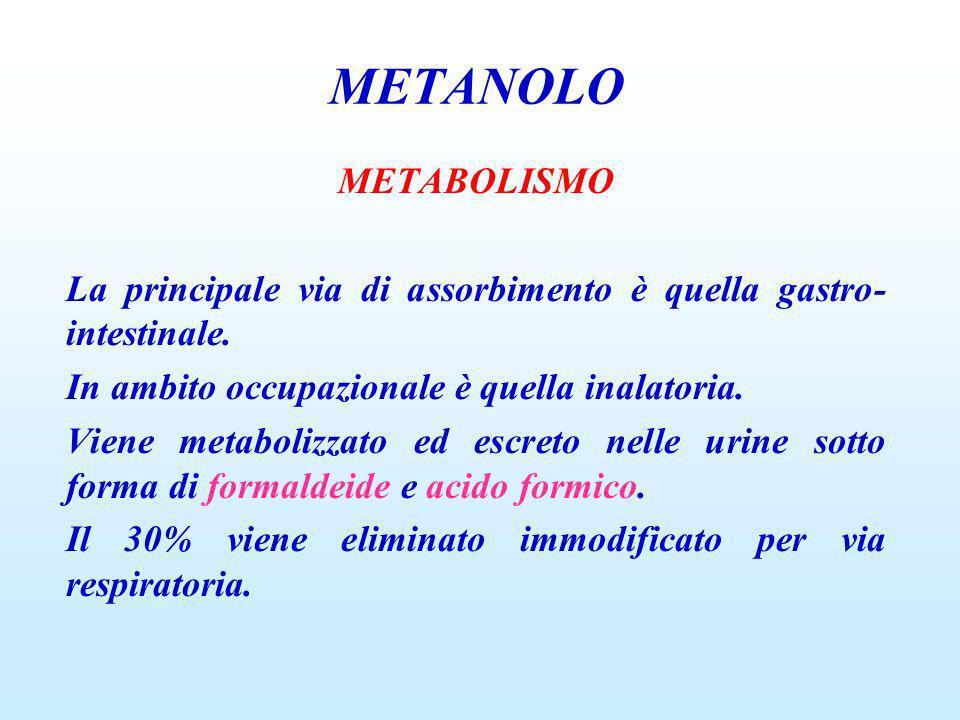 METABOLISMO La principale via di assorbimento è quella gastro- intestinale. In ambito occupazionale è quella inalatoria. Viene metabolizzato ed escret
