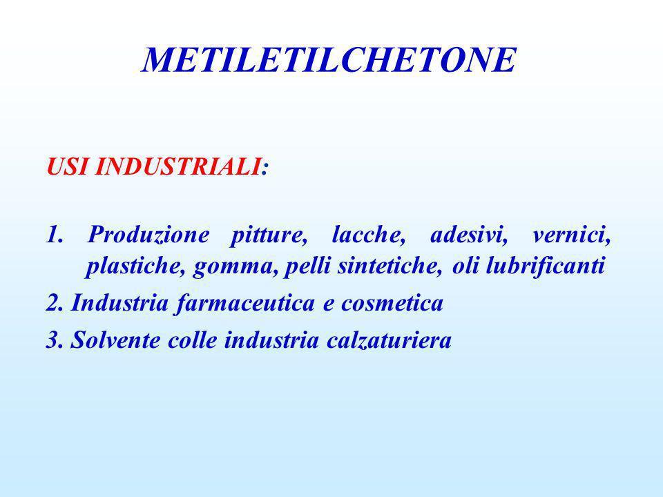 USI INDUSTRIALI: 1. Produzione pitture, lacche, adesivi, vernici, plastiche, gomma, pelli sintetiche, oli lubrificanti 2. Industria farmaceutica e cos