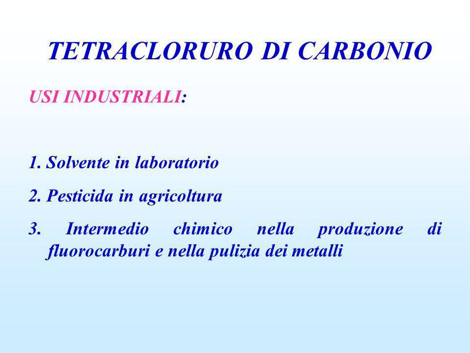 TETRACLORURO DI CARBONIO USI INDUSTRIALI: 1. Solvente in laboratorio 2. Pesticida in agricoltura 3. Intermedio chimico nella produzione di fluorocarbu