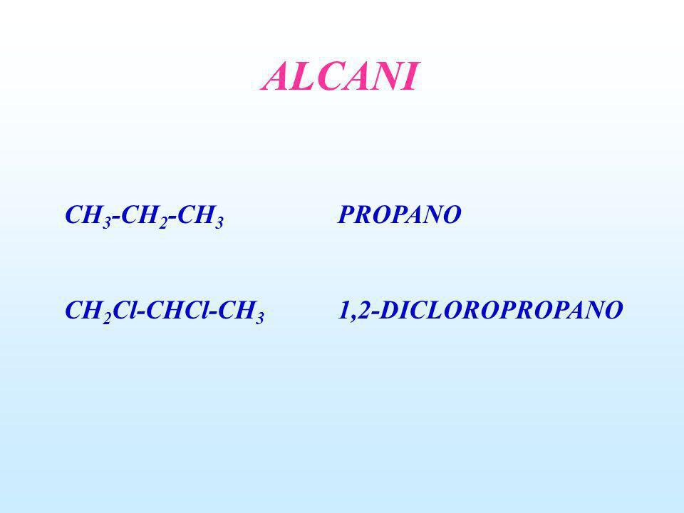 ALCANI CH 3 -CH 2 -CH 3 PROPANO CH 2 Cl-CHCl-CH 3 1,2-DICLOROPROPANO