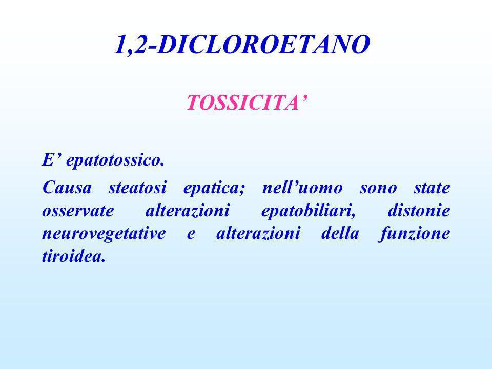 1,2-DICLOROETANO TOSSICITA E epatotossico. Causa steatosi epatica; nelluomo sono state osservate alterazioni epatobiliari, distonie neurovegetative e