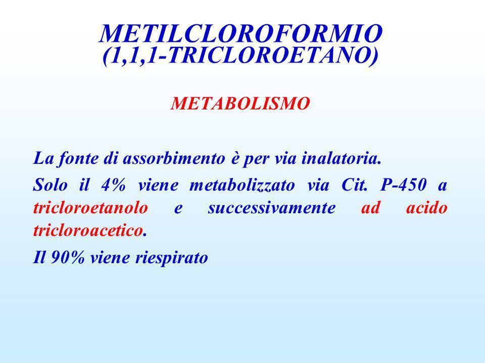 METABOLISMO La fonte di assorbimento è per via inalatoria. Solo il 4% viene metabolizzato via Cit. P-450 a tricloroetanolo e successivamente ad acido