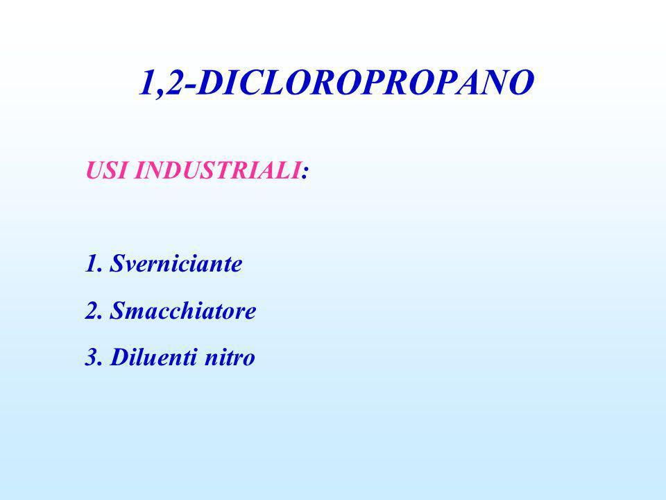 1,2-DICLOROPROPANO USI INDUSTRIALI: 1. Sverniciante 2. Smacchiatore 3. Diluenti nitro