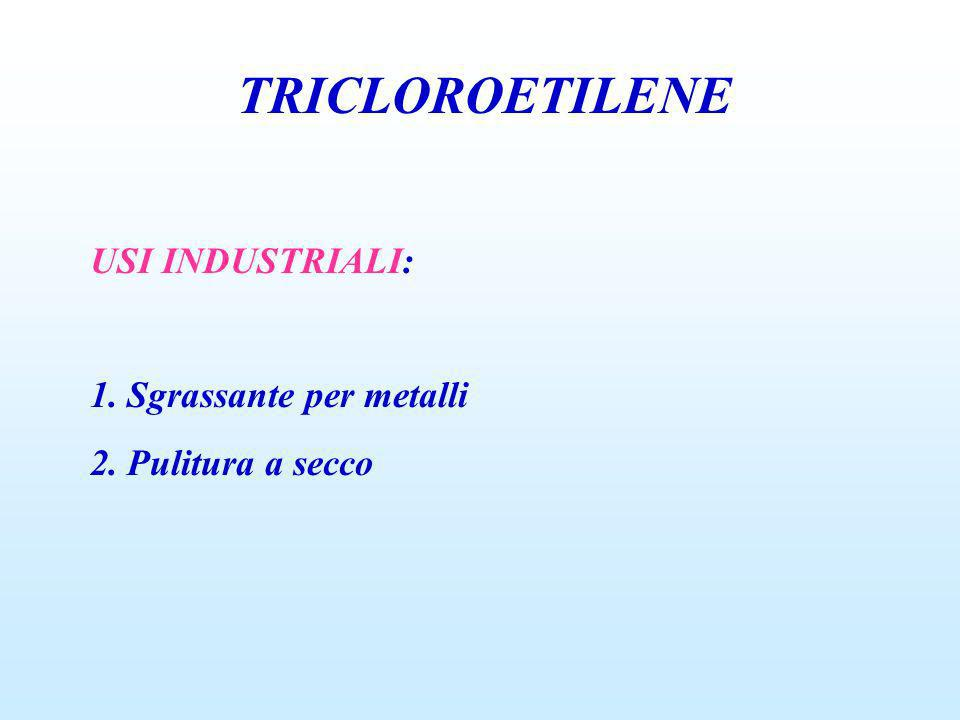 TRICLOROETILENE USI INDUSTRIALI: 1. Sgrassante per metalli 2. Pulitura a secco