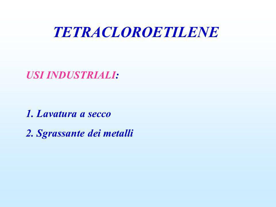 TETRACLOROETILENE USI INDUSTRIALI: 1. Lavatura a secco 2. Sgrassante dei metalli