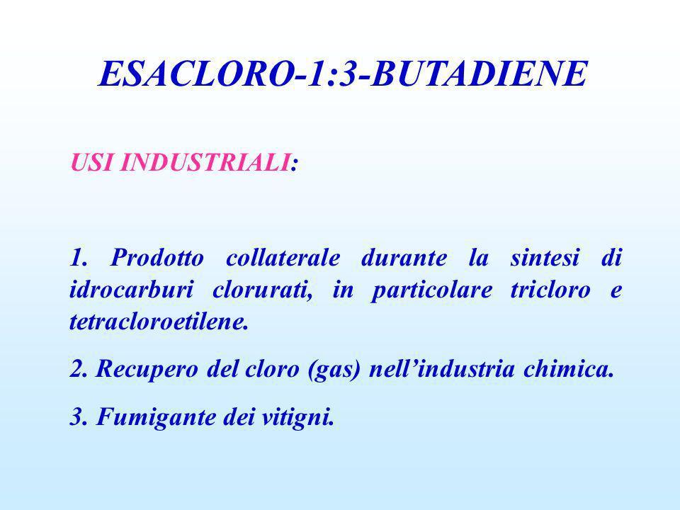 ESACLORO-1:3-BUTADIENE USI INDUSTRIALI: 1. Prodotto collaterale durante la sintesi di idrocarburi clorurati, in particolare tricloro e tetracloroetile