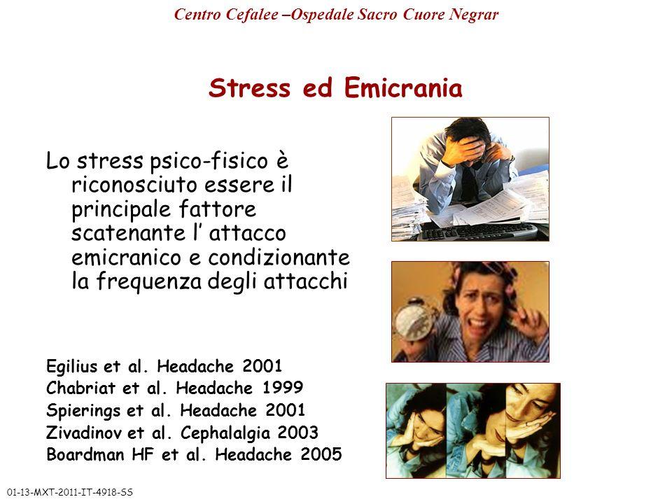 Stress ed Emicrania Lo stress psico-fisico è riconosciuto essere il principale fattore scatenante l attacco emicranico e condizionante la frequenza de