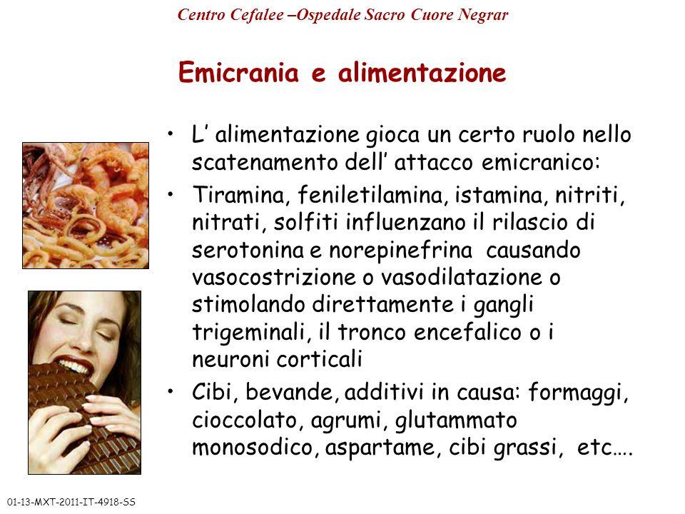 Emicrania e alimentazione L alimentazione gioca un certo ruolo nello scatenamento dell attacco emicranico: Tiramina, feniletilamina, istamina, nitriti