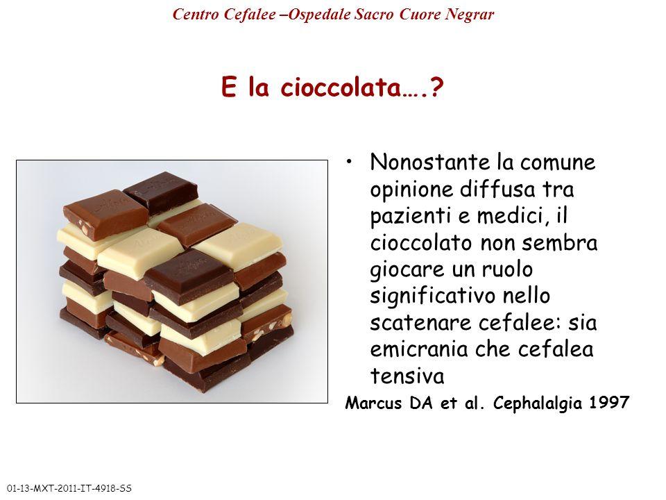 E la cioccolata….? Nonostante la comune opinione diffusa tra pazienti e medici, il cioccolato non sembra giocare un ruolo significativo nello scatenar