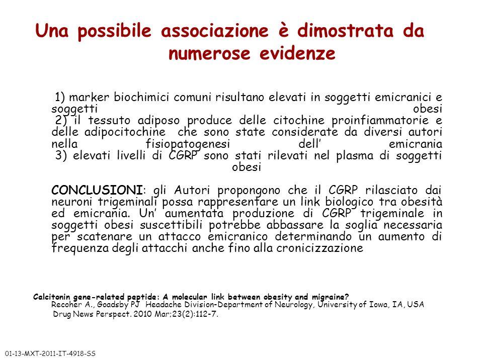 Una possibile associazione è dimostrata da numerose evidenze 1) marker biochimici comuni risultano elevati in soggetti emicranici e soggetti obesi 2)