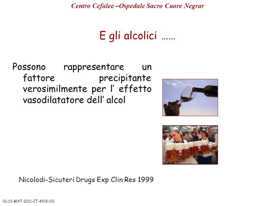 E gli alcolici …… Possono rappresentare un fattore precipitante verosimilmente per l effetto vasodilatatore dell alcol Centro Cefalee –Ospedale Sacro