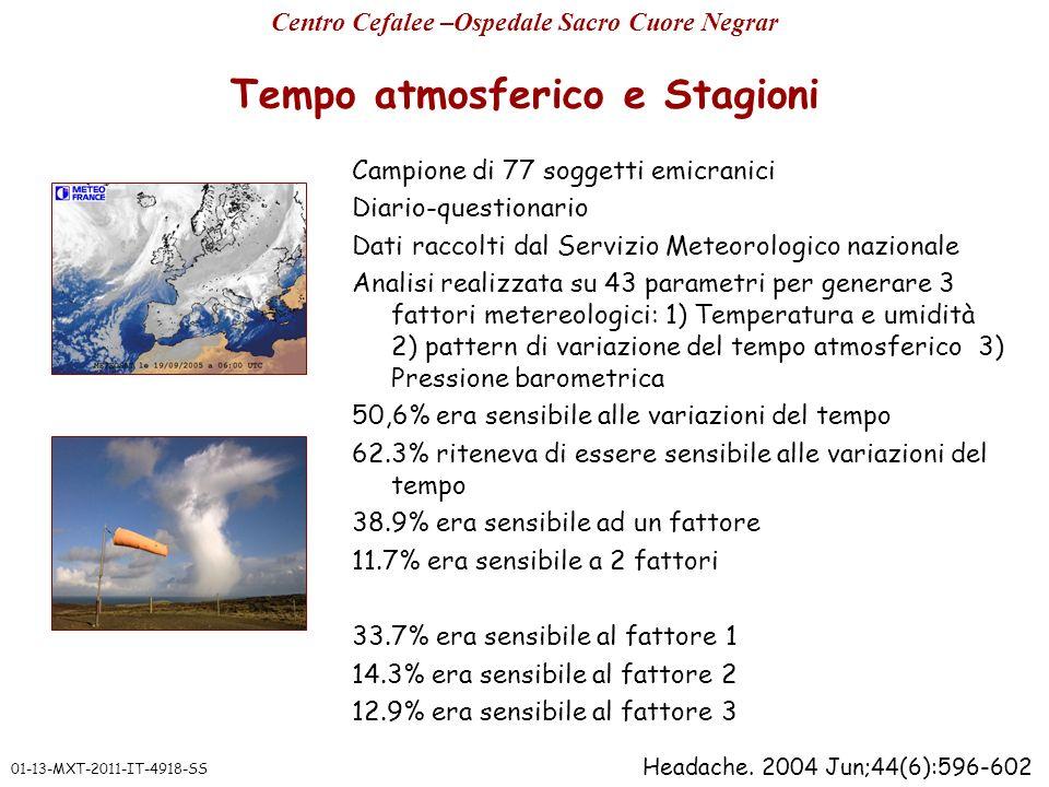 Tempo atmosferico e Stagioni Campione di 77 soggetti emicranici Diario-questionario Dati raccolti dal Servizio Meteorologico nazionale Analisi realizz
