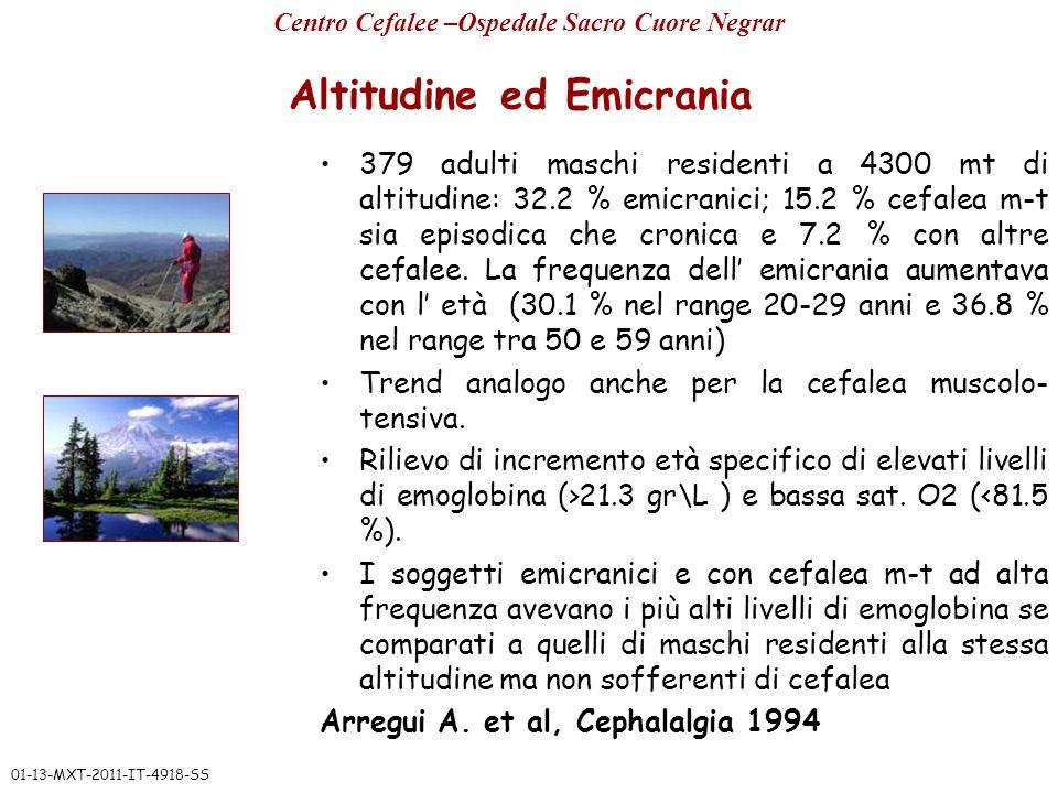 Altitudine ed Emicrania 379 adulti maschi residenti a 4300 mt di altitudine: 32.2 % emicranici; 15.2 % cefalea m-t sia episodica che cronica e 7.2 % c