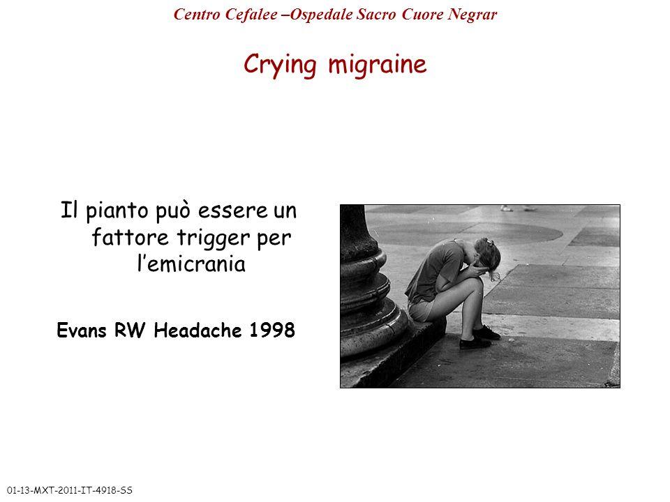 Crying migraine Il pianto può essere un fattore trigger per lemicrania Evans RW Headache 1998 Centro Cefalee –Ospedale Sacro Cuore Negrar 01-13-MXT-20