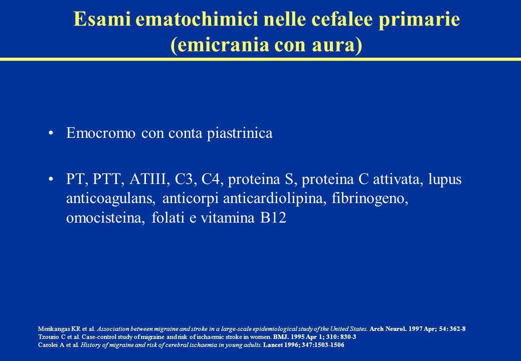 Esami ematochimici nelle cefalee primarie (emicrania con aura) Emocromo con conta piastrinica PT, PTT, ATIII, C3, C4, proteina S, proteina C attivata,