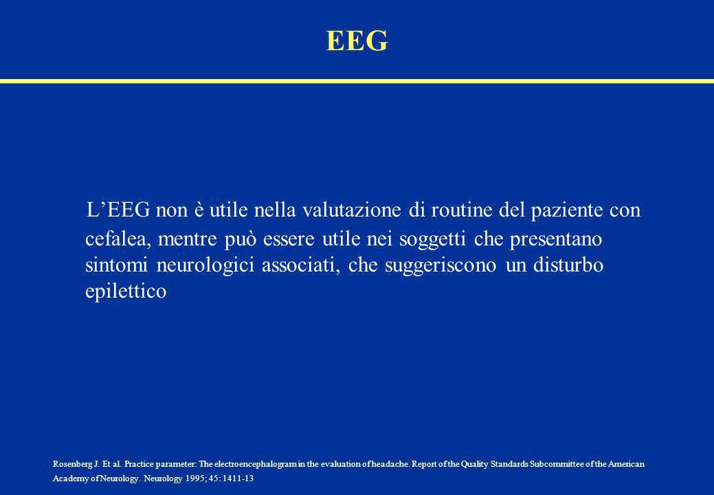 EEG LEEG non è utile nella valutazione di routine del paziente con cefalea, mentre può essere utile nei soggetti che presentano sintomi neurologici as