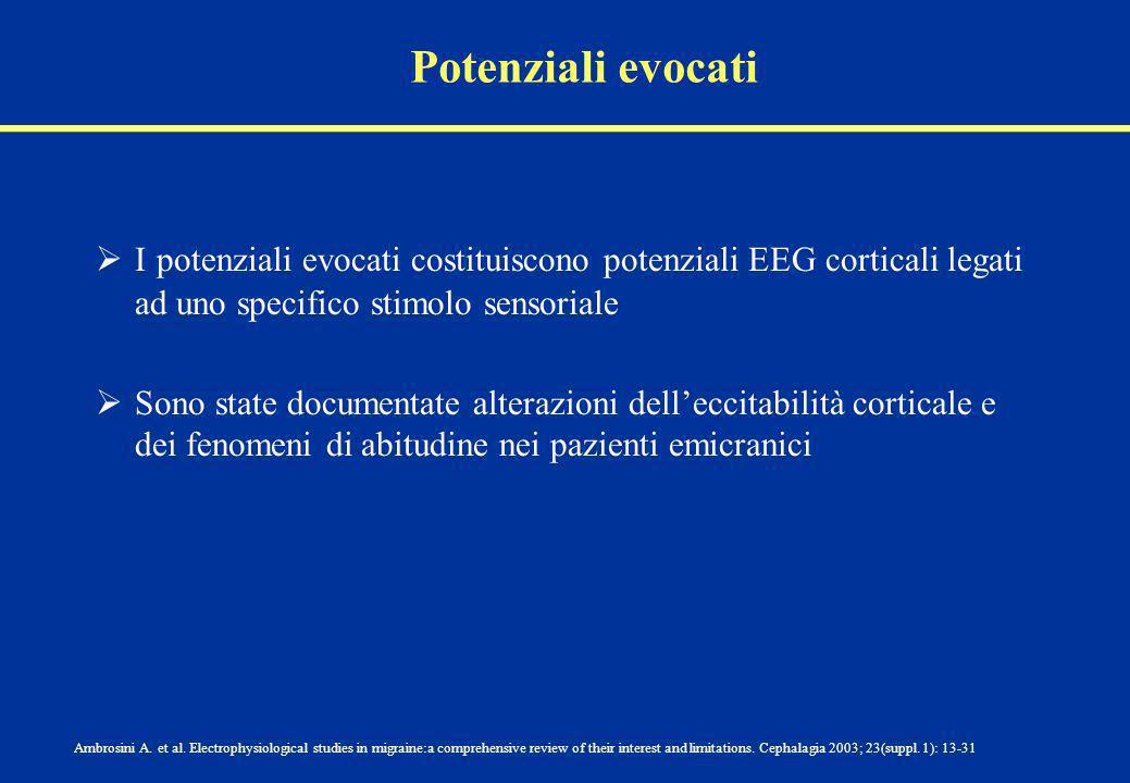 Potenziali evocati I potenziali evocati costituiscono potenziali EEG corticali legati ad uno specifico stimolo sensoriale Sono state documentate alter
