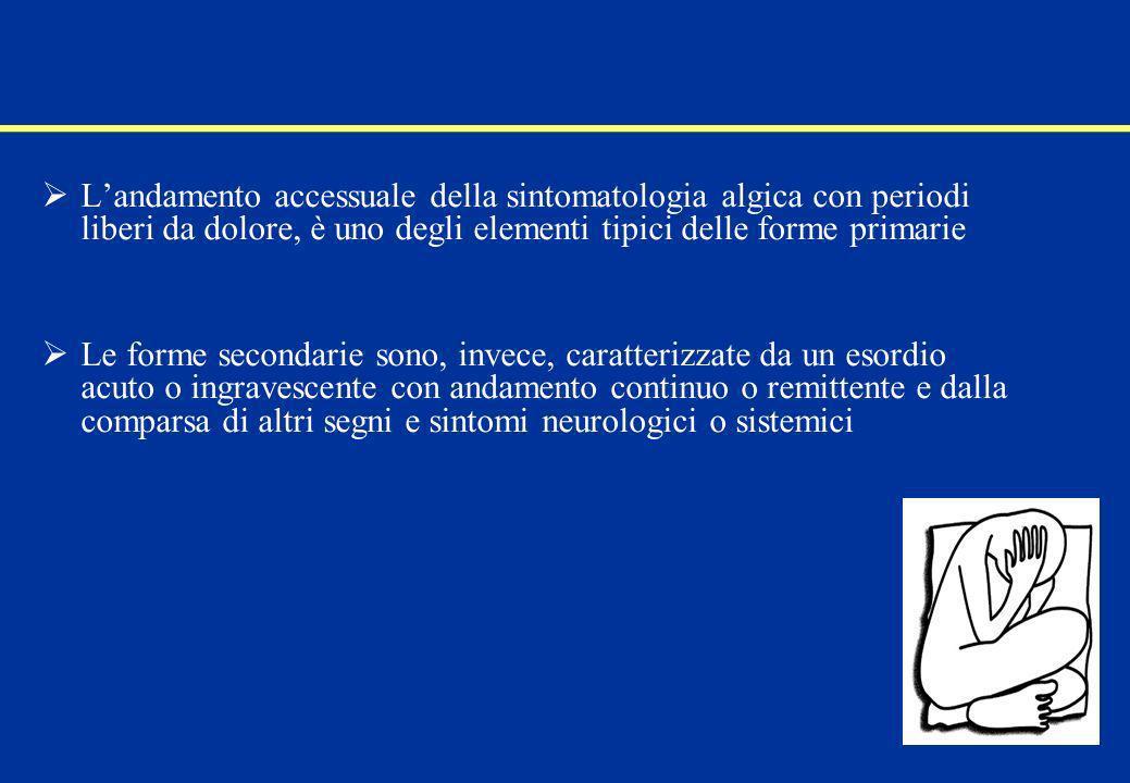 Cefalee primarie: la diagnosi Fondamentale, data la soggettività della sintomatologia e lassenza di dati strumentali e bioumorali che abbiano valore diagnostico, è il dato clinico La raccolta dellanamnesi deve essere scrupolosa e deve indagare in maniera precisa sulla sintomatologia cefalalgica, in modo da discernere, quando possibile, già alla prima visita, tra le varie forme di cefalea E importante verificare che la cefalea soddisfi i criteri IHS per la diagnosi di cefalea primaria e ricercare informazioni aggiuntive per migliorare il livello di sensibilità e specificità dei criteri IHS Pryse-Phillips WE et al.