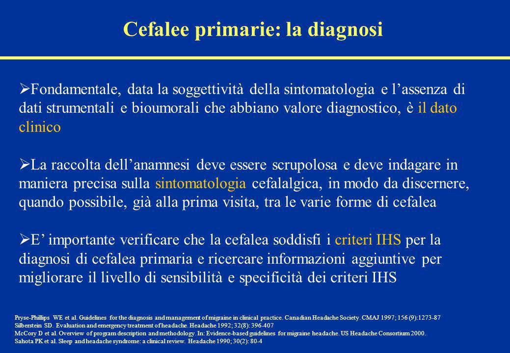 Cefalee primarie: la diagnosi Fondamentale, data la soggettività della sintomatologia e lassenza di dati strumentali e bioumorali che abbiano valore d