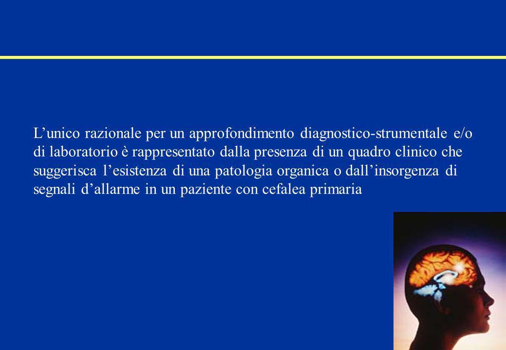 Il medico deve sospettare una cefalea secondaria ed in particolare una cefalea pericolosa se dallanamnesi emerge: esordio recente o dopo i 40 anni comparsa improvvisa di una cefalea di forte intensità, in particolare in un soggetto non cefalalgico il peggioramento di una cefalea preesistente aggravamento progressivo nellarco di pochi giorni o settimane Linee Guida diagnostiche e terapeutiche dellemicrania e della cefalea a grappolo -SISC- G.