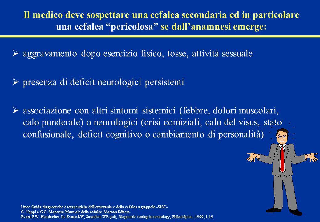 Il medico deve sospettare una cefalea secondaria ed in particolare una cefalea pericolosa se dallanamnesi emerge: aggravamento dopo esercizio fisico,