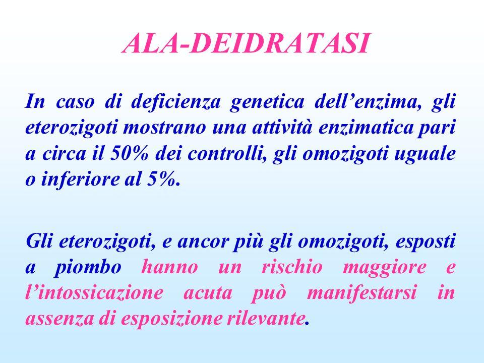 ALA-DEIDRATASI In caso di deficienza genetica dellenzima, gli eterozigoti mostrano una attività enzimatica pari a circa il 50% dei controlli, gli omoz