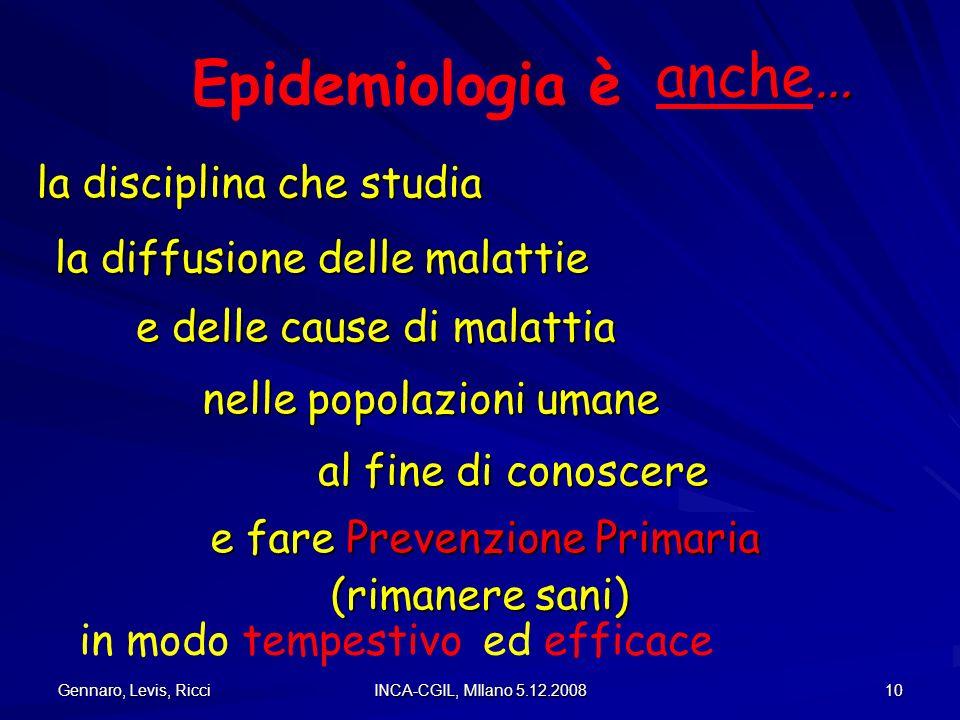 Gennaro, Levis, Ricci INCA-CGIL, MIlano 5.12.2008 10 Epidemiologia è la disciplina che studia la disciplina che studia nelle popolazioni umane la diff