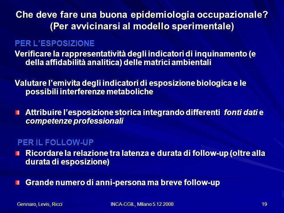 Gennaro, Levis, Ricci INCA-CGIL, MIlano 5.12.2008 19 PER LESPOSIZIONE Verificare la rappresentatività degli indicatori di inquinamento (e della affida