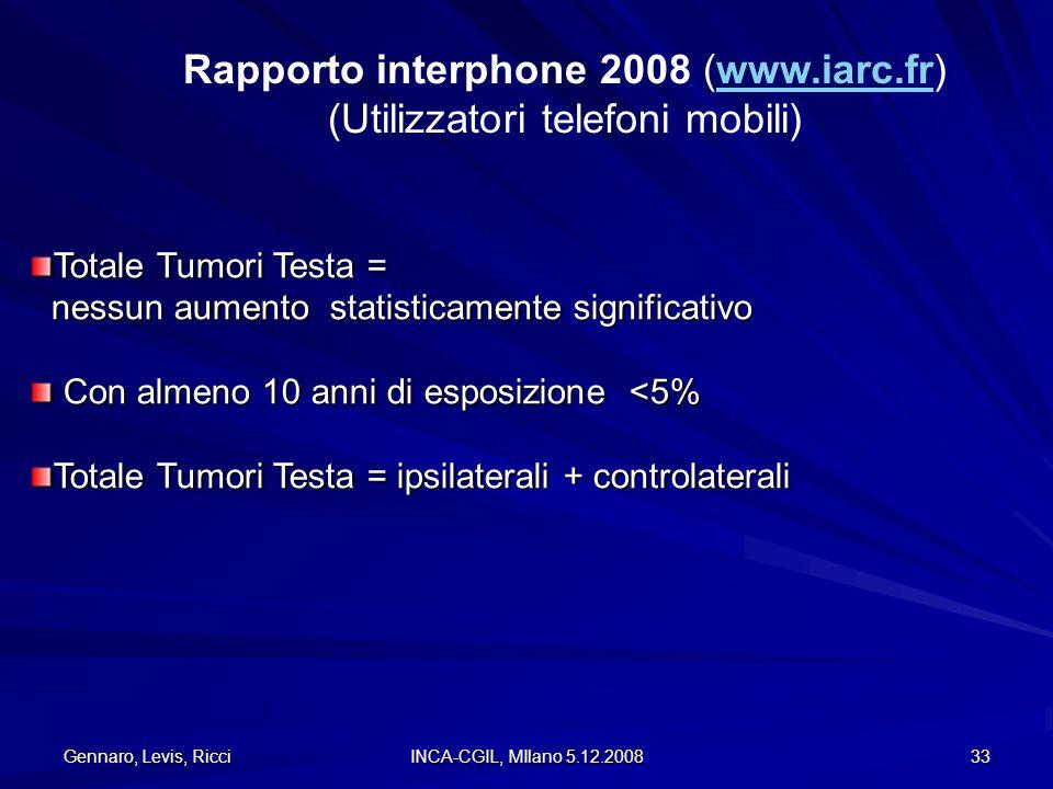 Gennaro, Levis, Ricci INCA-CGIL, MIlano 5.12.2008 33 Rapporto interphone 2008 (www.iarc.fr)www.iarc.fr (Utilizzatori telefoni mobili) Totale Tumori Te