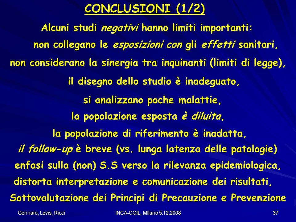 Gennaro, Levis, Ricci INCA-CGIL, MIlano 5.12.2008 37 CONCLUSIONI (1/2) Alcuni studi negativi hanno limiti importanti: non collegano le esposizioni con