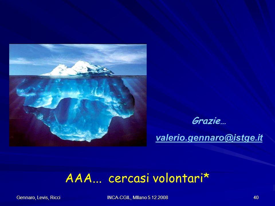Gennaro, Levis, Ricci INCA-CGIL, MIlano 5.12.2008 40 Grazie… valerio.gennaro@istge.it AAA... cercasi volontari*