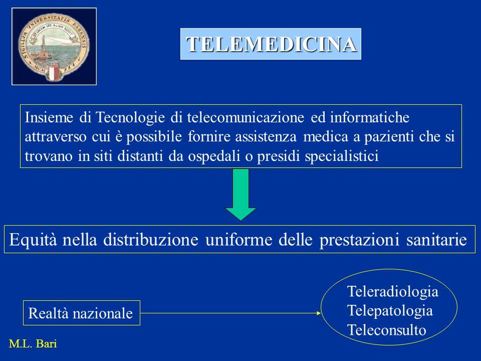 TELEMEDICINA Insieme di Tecnologie di telecomunicazione ed informatiche attraverso cui è possibile fornire assistenza medica a pazienti che si trovano