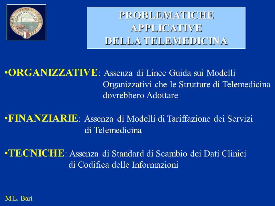 PROBLEMATICHE APPLICATIVE DELLA TELEMEDICINA ORGANIZZATIVE : Assenza di Linee Guida sui Modelli Organizzativi che le Strutture di Telemedicina dovrebb