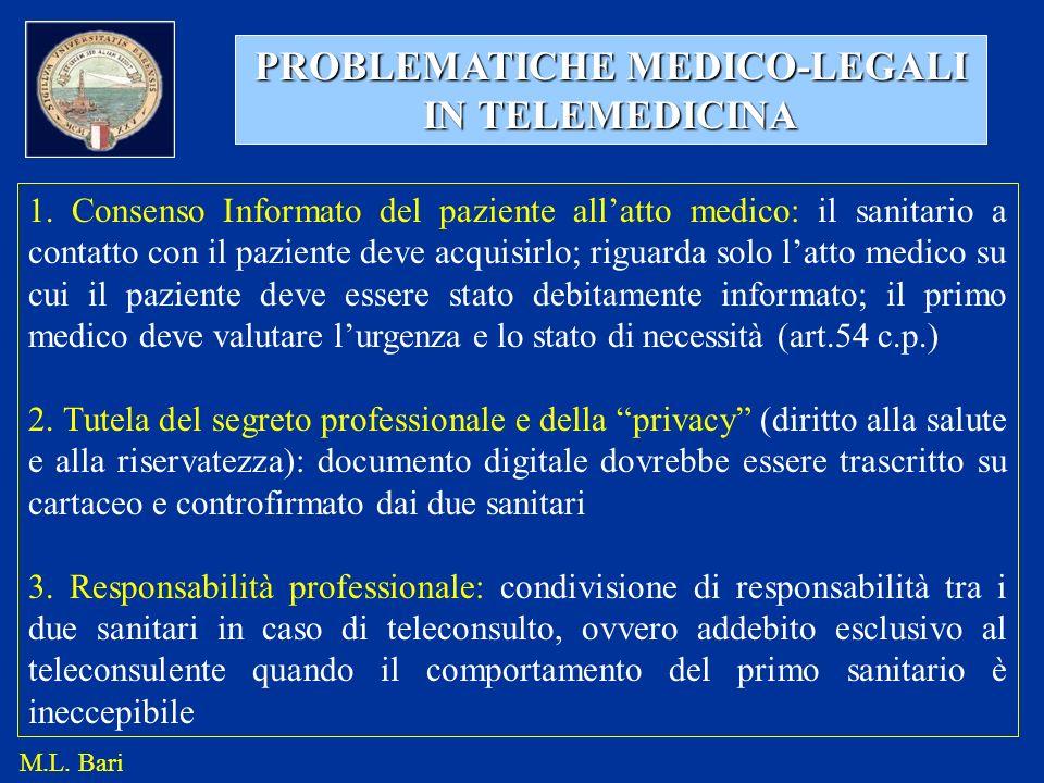PROBLEMATICHE MEDICO-LEGALI IN TELEMEDICINA 1. Consenso Informato del paziente allatto medico: il sanitario a contatto con il paziente deve acquisirlo