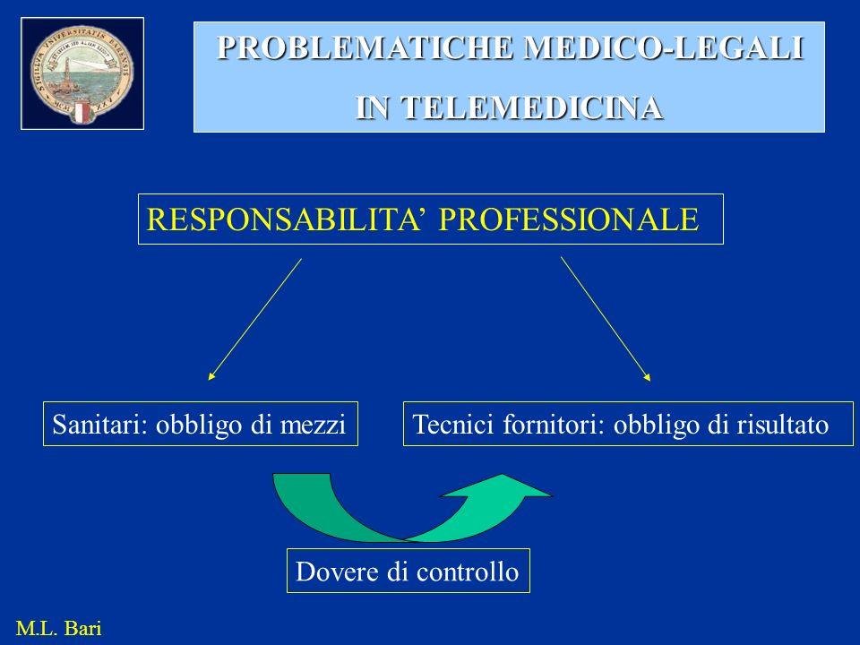 PROBLEMATICHE MEDICO-LEGALI IN TELEMEDICINA RESPONSABILITA PROFESSIONALE Sanitari: obbligo di mezziTecnici fornitori: obbligo di risultato M.L. Bari D