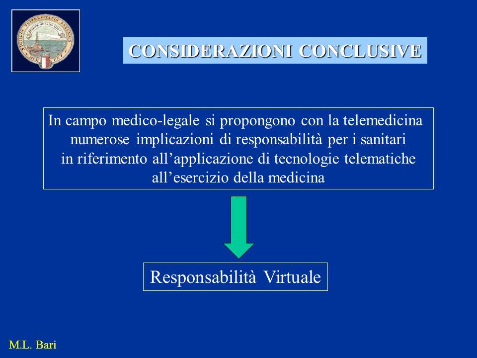 CONSIDERAZIONI CONCLUSIVE In campo medico-legale si propongono con la telemedicina numerose implicazioni di responsabilità per i sanitari in riferimen