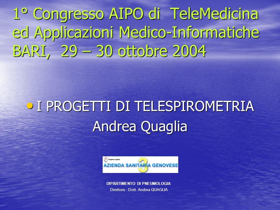 1° Congresso AIPO di TeleMedicina ed Applicazioni Medico-Informatiche BARI, 29 – 30 ottobre 2004 I PROGETTI DI TELESPIROMETRIA I PROGETTI DI TELESPIRO