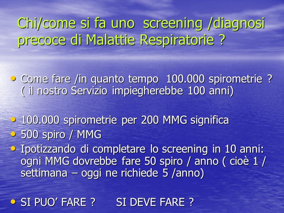 Chi/come si fa uno screening /diagnosi precoce di Malattie Respiratorie ? Come fare /in quanto tempo 100.000 spirometrie ? ( il nostro Servizio impieg