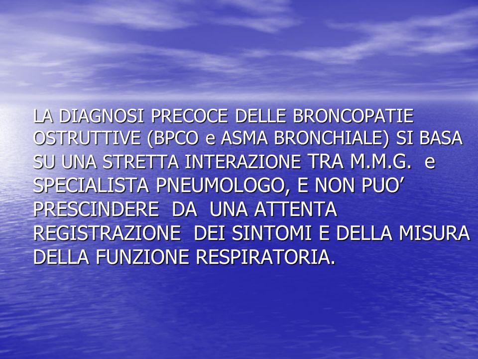 LA DIAGNOSI PRECOCE DELLE BRONCOPATIE OSTRUTTIVE (BPCO e ASMA BRONCHIALE) SI BASA SU UNA STRETTA INTERAZIONE TRA M.M.G. e SPECIALISTA PNEUMOLOGO, E NO