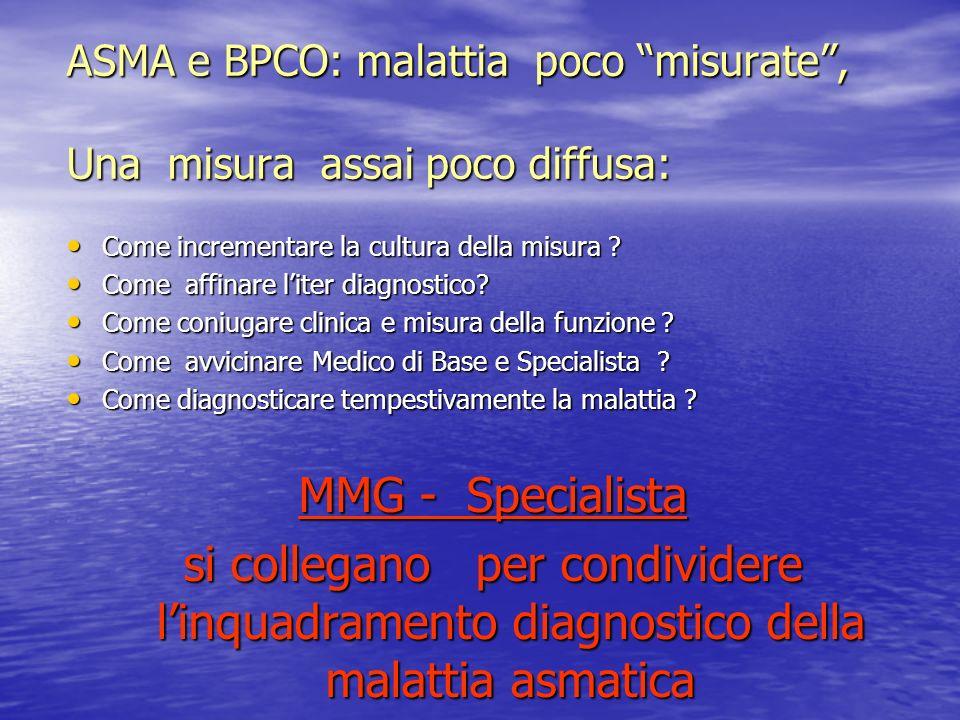 ASMA e BPCO: malattia poco misurate, Una misura assai poco diffusa: Come incrementare la cultura della misura ? Come incrementare la cultura della mis