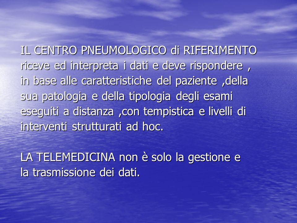 OBIETTIVI della TELEPNEUMOLOGIA A) Gestione delle Broncopatie Ostruttive A) Gestione delle Broncopatie Ostruttive ( Asma e BPCO) ( Asma e BPCO) - diagnosi precoce - misura dei pazienti a rischio - misura dei pazienti a rischio - monitorizzazione - monitorizzazione B) Gestione domiciliare dei pazienti pneumologici B) Gestione domiciliare dei pazienti pneumologici