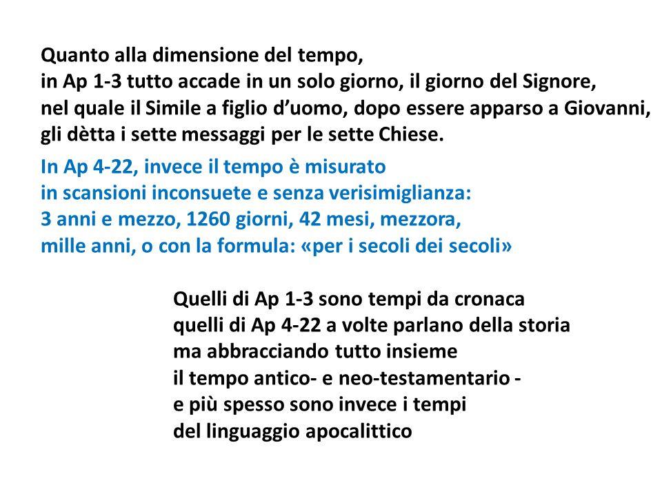 Quanto alla dimensione del tempo, in Ap 1-3 tutto accade in un solo giorno, il giorno del Signore, nel quale il Simile a figlio duomo, dopo essere apparso a Giovanni, gli dètta i sette messaggi per le sette Chiese.