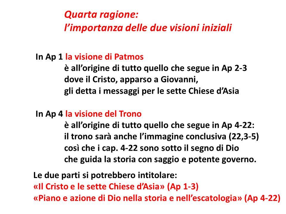 Quarta ragione: limportanza delle due visioni iniziali In Ap 1 la visione di Patmos è allorigine di tutto quello che segue in Ap 2-3 dove il Cristo, a
