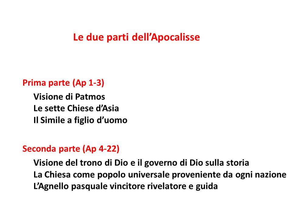 Prima parte (Ap 1-3) Visione di Patmos Le sette Chiese dAsia Il Simile a figlio duomo Seconda parte (Ap 4-22) Visione del trono di Dio e il governo di
